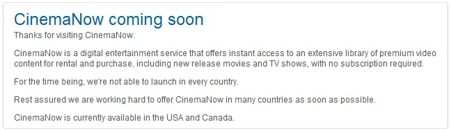 CinemaNow Sperrung Nachricht
